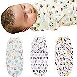 YASSON 3er Pack Baby Musselin Wickeldecke Pucksack Verstellbare Schlafsack Baby Pucktuch Atmungsaktiv Wrap Pucktuch Säugling Kinderwagen Decke