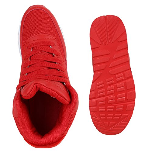 Sportliche Herren Sneakers High Bequeme Turnschuhe Basic Rot Rot