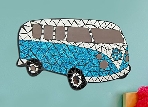 Just Contempo Campervan Mosaic Wall Art, Blue