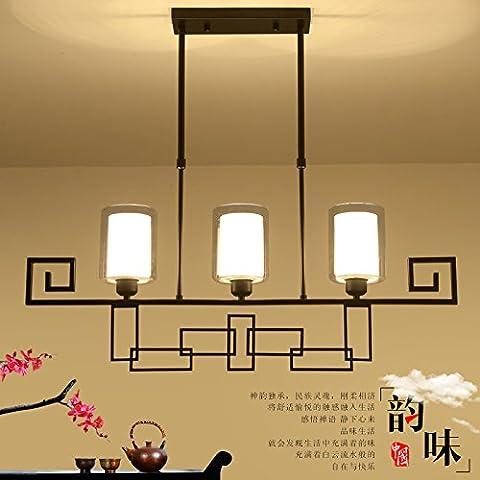CHJK BRIHT Un nuovo e moderno ristorante cinese Ciondolo lampada Lampade luci di forma rettangolare retrò Soggiorno ferro luci pendente Studio Lounge , Hotel lampade nero - Rettangolare Pendente A Forma