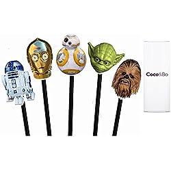 Coco & Bo 10x Star Wars héroes Cupcake Toppers-BB8R2D2C3PO Yoda y Chewbacca Tarta de Fiesta temática de Decoraciones y Accesorios