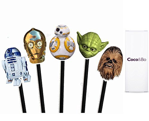 Star Wars Helden Cupcake Topper - BB8 R2D2 C3PO Yoda und Chewbacca Thema Party Dekorationen & Cake Zubehör ()