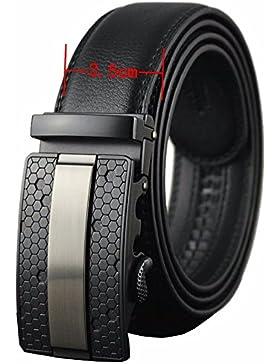 EMMA Hombre Cinturón de Cuero Negro con Automatica Marrón