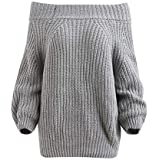 40%-60% Off!Ieason Women Fashion Top Off Shoulder Pullover Chunky Sweater Knitted Sweater Blouse