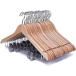 J.S. Hanger Perchas resistentes de madera auténtica de árbol Guger, con pinzas anticorrosivas para trajes y abrigos, acabado en madera natural (20 unidades)
