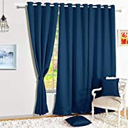 Story@Home Blackout Eyelet 2 Piece Faux Silk Ring top Window Curtain-5 feet, Navy Blue