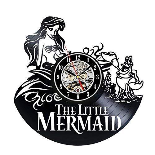 GYGUYHIHY Vinyl Wanduhr Die Kleine Meerjungfrau Kreative Uhr Familie Dekor Uhr Kinder Geschenke 12 Zoll (Meerjungfrau-dekor Kleine Die)