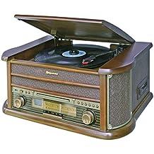 Roadstar HIF-1990 Retro Stereo-Anlage mit Plattenspieler, Kassette, CD-Player und Radio (UKW / MW, CD / MP3, USB, beleuchtetes LCD-Display, Fernbedienung, 40 Watt Musikleistung), braun