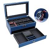 Songmics-Caja-joyero-de-2-niveles-Organizador-para-10-relojes-ajorcas-pulseras-Azul-JWB012L