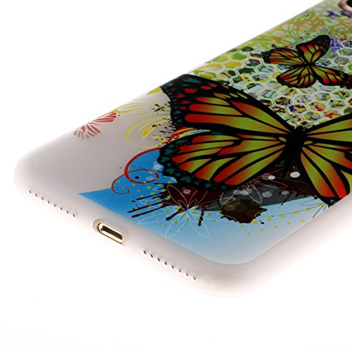 iPhone 7 Plus Hülle, Voguecase Silikon Schutzhülle / Case / Cover / Hülle / TPU Gel Skin für Apple iPhone 7 Plus/iPhone 8 Plus 5.5(Weltkarte 01) + Gratis Universal Eingabestift Groß Bunt Schmetterling 01