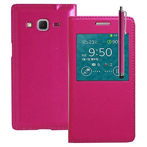 VCOMP Custodia Cover Guscio sportellino Vista Compatibile con Samsung Galaxy Core Prime SM-G360F/ 4G SM-G361F - Rosa + Pennino