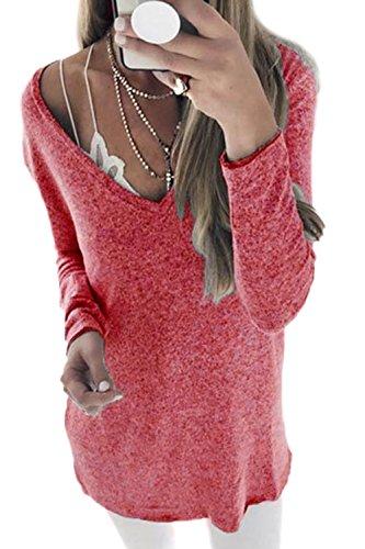 Les Femmes Peu Structurés Et Pull Col V La Taille D'hiver Pull Haut De La Page Red