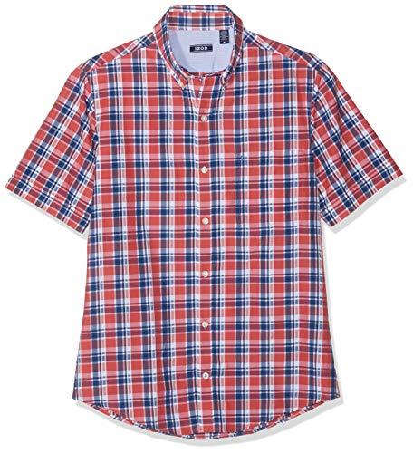 Izod Herren Seersucker Plaid BD SS Shirt Freizeithemd Rot (Saltwater Red 648) X-Large (Herstellergröße: XL) - Plaid Print Polo