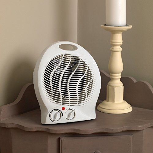 51SHDOlLKuL. SS500  - Kingfisher Limitless 2000W Round Fan Heater Compact and Portable Free Standing Electric, White, 21.5 x 4.5 x 15 cm