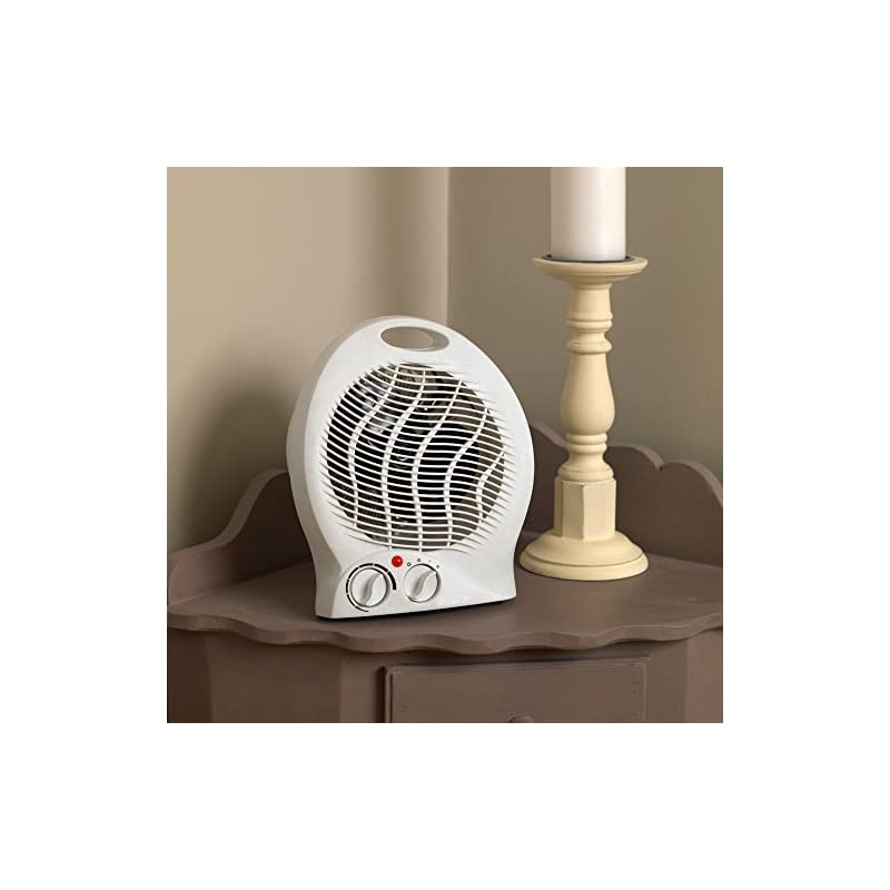 Kingfisher Limitless 2000W Round Fan Heater Compact and Portable Free Standing Electric, White, 21.5 x 4.5 x 15 cm