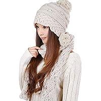 KINMB Hut Schal Zweiteilige Herbst und Winter Frauen warme Kit Zweiteilige Set 0308