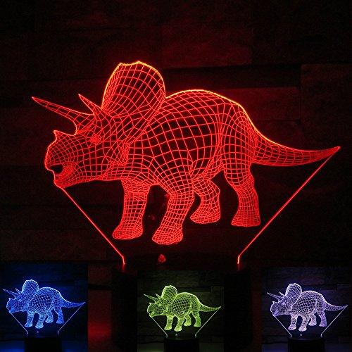 Jinson well 3D dinosaurier Nachtlicht Lampe optische Nacht licht Illusion 7 Farbwechsel Touch Switch Tisch Schreibtisch Dekoration Lampen perfekte Weihnachtsgeschenk mit Acryl Flat ABS Base USB Kabel kreatives Spielzeug