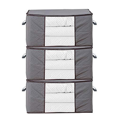 iheyfill 3 Stück 84L Aufbewahrungstasche Kleideraufbewahrung Faltbare Groß Unterbett Aufbewahrungsbeutel für Bettdecken, Kleidung, Bettzeug, Decken, Kissen, Steppdecken, Bettwäsche