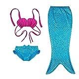 3 Piece Enfant Fille Princesse sirène Tail baignable Bikini Maillots de bain (120(6-7Y), Blue pink)
