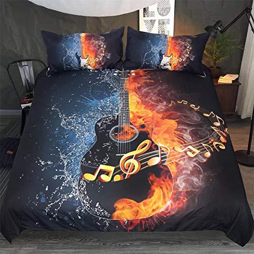 Funda Nórdica Music Dream Guitar220X240Cm Hipoalergénica Refrescante Polyester Juego De Ropa De Cama...