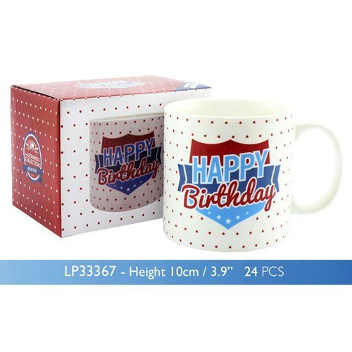 Happy Birthday Jumbo Ceramic Mug in presentation box - Masculine / Male Artwork by Celebration Jumbo Mug - Jumbo Ceramic Mug