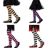 Calze bambina Collant a righe bianco e nero - Leggings a strisce Calzette sottili colorate Calzamaglia zebrata per bimbe Accessorio costume ragazzine