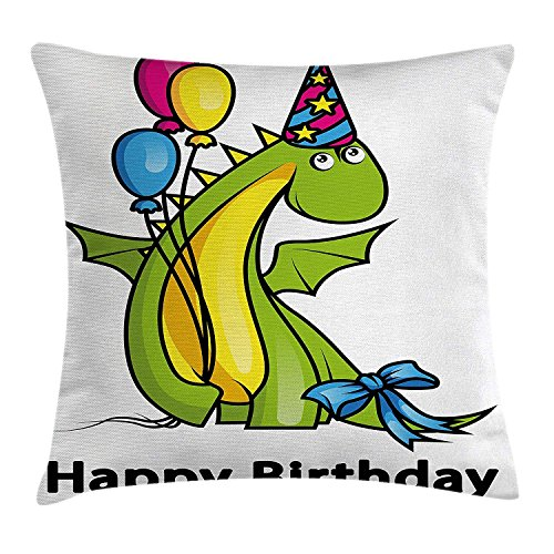 Pillow Cushion Cover, Little Baby Dinosaur Animal Party Event with Colorful Balloons, Decorative Square Accent Pillow Case, 18 X 18 inches, Fern Green and Yellow ()