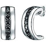 Rafaela Donata Damen-Ohrstecker 925 Sterling Silber Zirkonia schwarz - Moderne Ohrhänger in Halb-Creolen Form mit schwarzen Steinen 60800250