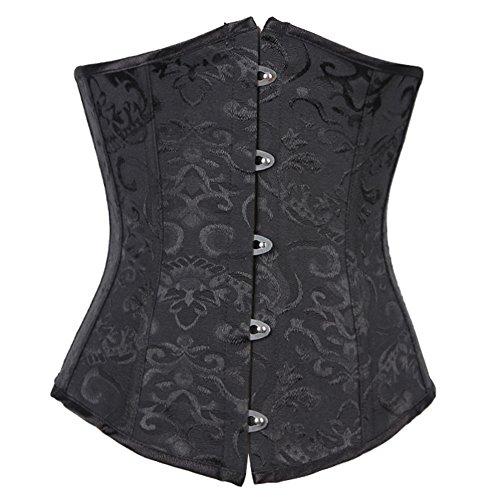 FeelinGirl Damen Korsage Unterbrustkorsett Satin Bauchweg Corsage Waist Cincher Top Tailenmieder Dessous XL Black