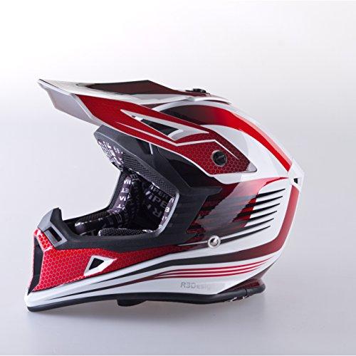 VIPER RS X95 MOTOCROSS MOTO QUAD ATV DIRT ENDURO OFF ROAD SPORT RENNEN MOTORRADHELM ROT (S (55-56 CM)) - 2