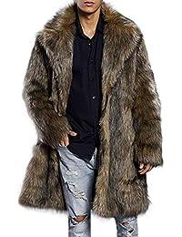 VICGREY ❤ Uomo Elegante Giacca Invernale Cappotto in Pelliccia Sintetica  Classico Felpe Caldo Giubbini Manica Lunga ea3bc2b7859