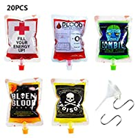 Quemu Co.,Ltd. Halloween Blood Bag Drink Container - Reusable with Funnel and Hooks - Juice/Alcohol/Jello Drink Cups for Carnival Holiday Theme Zombie Party 250ML 20Pcs (Black Orange White)