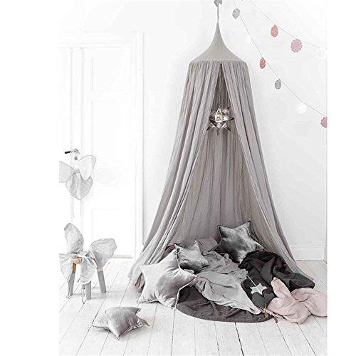 Baldachin , JELEGAN Kinder Bett Kuppel Baumwoll Betthimmel Moskitonetz Spiel Zelt Gut für Baby Innen im Freienspiel Lese Schlafzimmer Ankleidezimmer Höhe 240cm (Grau)