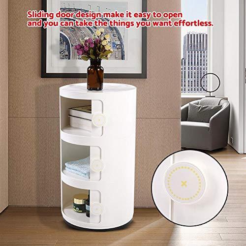 GOTOTOP Container Componibili, 3 Schichten runder Kunststoff Rollcontainer Nachttisch Aufbewahrungsschrank mit Slippng Tür für Badezimmer-Schlafzimmer (Weiß)