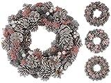Kranz Tischkranz Türkranz 34 cm weiß rosa Tannenzapfen Blumen Weihnachtskranz (Modell 3)