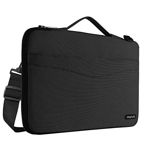 MOSISO 360° stoßfeste Notebooktasche für 13-13,3 Zoll MacBook Pro, MacBook Air, Surface Laptop, Notebook Computer, Wasserresistente Laptop Schultertasche Sleeve Hülle Umhängetasche mit Schulterriemen aus strapazierfähigem als Messenger Bag, Schwarz