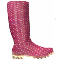 P377 Pink with Umbrellas Funky Womens Ladies Girls Wellies Wellie Boots Rain Snow Sizes 3, 4, 5, 6, 6.5 7