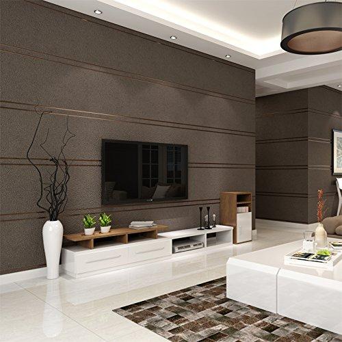DHG Moderne Minimalistische Samt Marmor Gestreifte Tapete Vlies Wohnzimmer TV Hintergrund Wand Papier Schlafzimmer 3D,Kaffee,5,3 Quadratmeter Pro Rolle (Und Tv Kaffee)