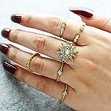 Deniferymakeup Anillo de oro vintage con diamantes de imitación, anillo de estrella de diamantes de imitación de aleación de luna (juego de 6)
