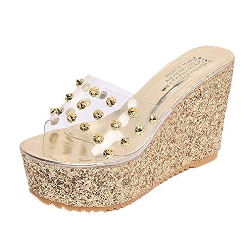 Squarex exquisite estate piattaforma trasparente impermeabile sandali sandali donne pantofole 4.5 UK/ Foot Length:24-24.5cm Gold