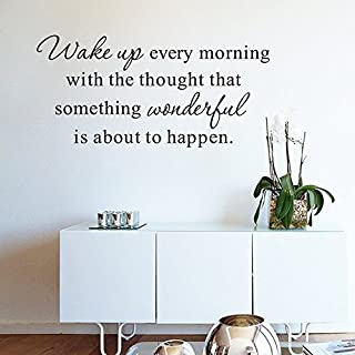 "ufengke home Inspirational ""Wake Up Every Morning"" Quotes Wall Art Stickers Motivational Words Letters Decorative Removable DIY Vinyl Wall Decals Living Room, Bedroom Mural"