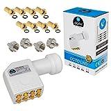 HB-DIGITAL Octo LNB LNC 8 Teilnehmer Direkt FULL HD TV 3D 4K Weiß Weiss White + Kontakte vergoldet + Wetterschutz (ausziehbar) im SET mit dabei 8x F-Stecker vergoldet und 4x F-Abschlusswiderstand GRATIS dazu