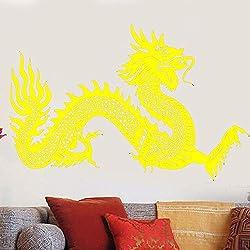Applique Murale en Vinyle Symbole du Dragon Chinois Autocollant Mural Style Asiatique Autocollant Fantastique Maison Salon Dragon Wall Art Mural