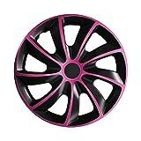 15 Zoll Radkappen QUAD Schwarz-Pink (Farbe und Größe wählbar!)