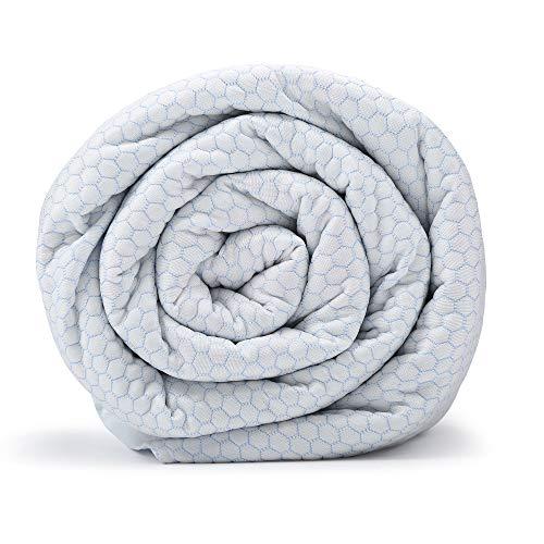 BlanQuil Gesteppte Decke mit abnehmbarem Bezug. Verbessert den Schlaf und reduziert Stress. Hilft bei Angst und Schlaflosigkeit. 48x74 White Frost 20lb (Frost Decke)