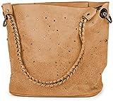styleBREAKER Handtaschen Set mit Strassapplikation im Sternenhimmel Design, 2 Taschen 02012013, Farbe:Camel