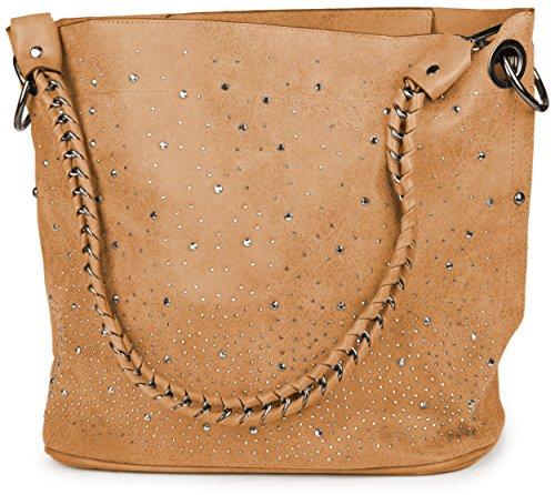 styleBREAKER Handtaschen Set mit Strassapplikation im Sternenhimmel Design, 2 Taschen 02012013, Farbe:Camel (Stoff Camel Handtaschen)