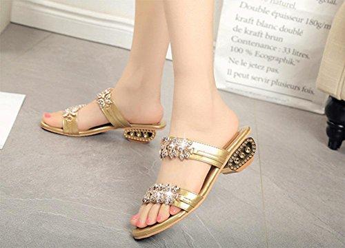 Strass Sandalen und Pantoffeln Wort Sommer in offene Sandalen mit Gold