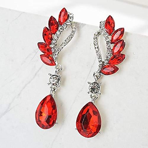 Frauen lange Ohrringe Imitation Diamond Ohrringe Drop Damen stilvolle klassische Schmuck rot/hellgrün/königsblau für die tägliche Zeremonie 1 Paar @ rot (Für Ohrringe Red Diamond Männer)