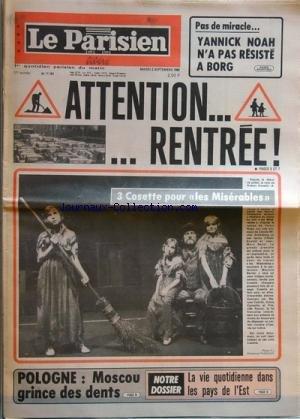 PARISIEN LIBERE (LE) [No 11181] du 02/09/1980 - YANNICK NOAH